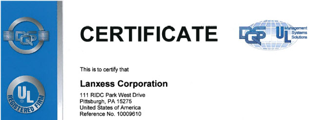 LANXESS ISO & RC Certifications